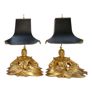 1980s Fine Art Lamps Gold Glaze Buddha and Pagoda Shades - a Pair For Sale