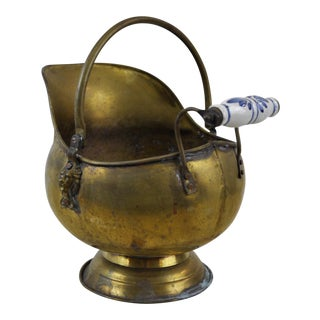 Vintage Brass Helmet Coal Scuttle For Sale