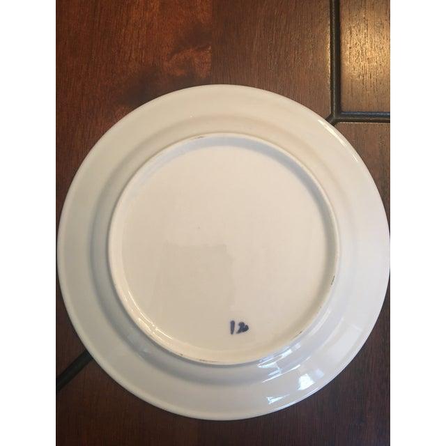 Ceramic Blue & White Floral Dessert Plates - Set of 12 For Sale - Image 7 of 12