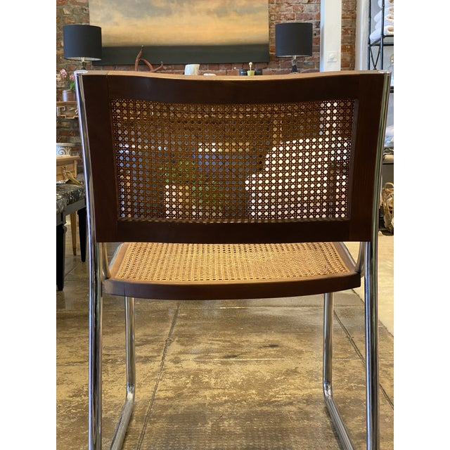 Classic pair of Marcel Breuer Cane and Chrome Chairs! The woven cane combined with shiny chrome is perfect for his office...