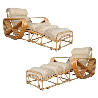 Restored Rare Restored Pair of Paul Frankl Rattan Chaise Lounge Chairs W/ Pretzel Arms For Sale