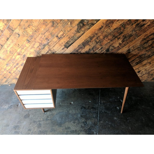 Brown Custom Large Mid Century Style Walnut Desk For Sale - Image 8 of 11