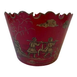 Late 20th Century Vintage Chinoiserie Tole Planter For Sale