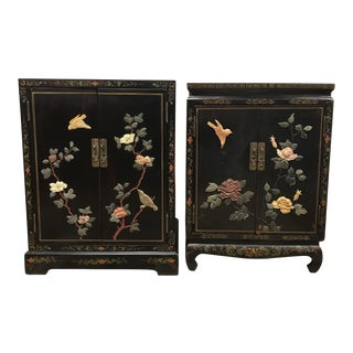 1920s Chinoiserie Black Lacquer Side Tables - a Pair For Sale