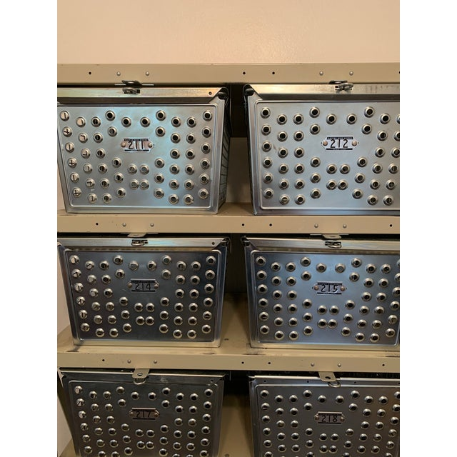 Vintage Industrial Swim and Gym Basket Lockers With Shelving For Sale - Image 4 of 11