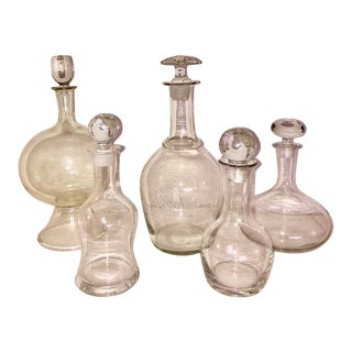 Vintage Clear Glass Decanters - Set of 5 For Sale
