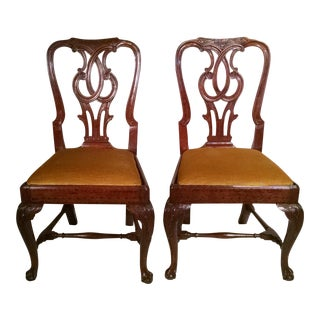 Irish Chippendale Side Chairs - A Pair For Sale