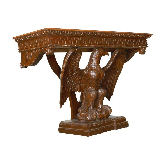Late 19th Century American Neoclassical Hand-Carved Eagle Console Table, Pair Available For Sale - Image 5 of 7
