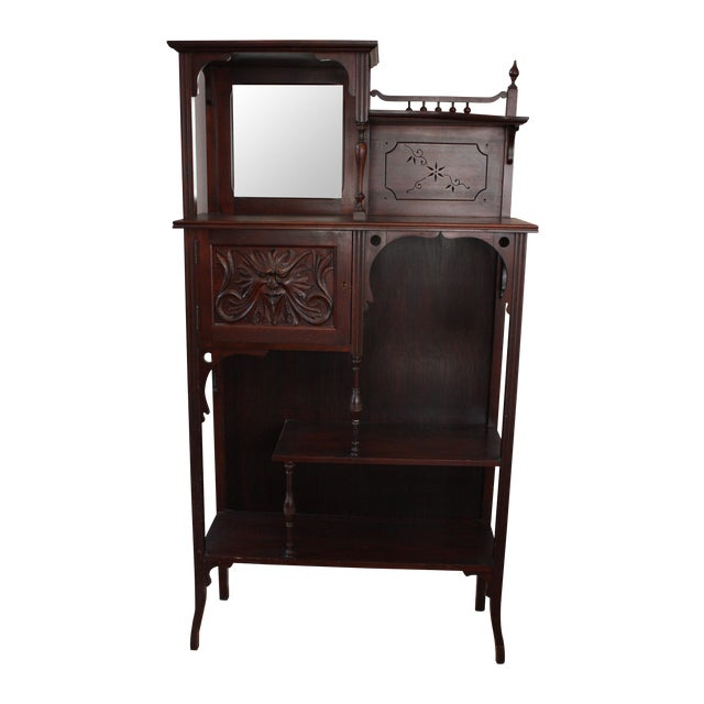 Antique Carved Mahogany Spindle Etagere - Image 1 of 4