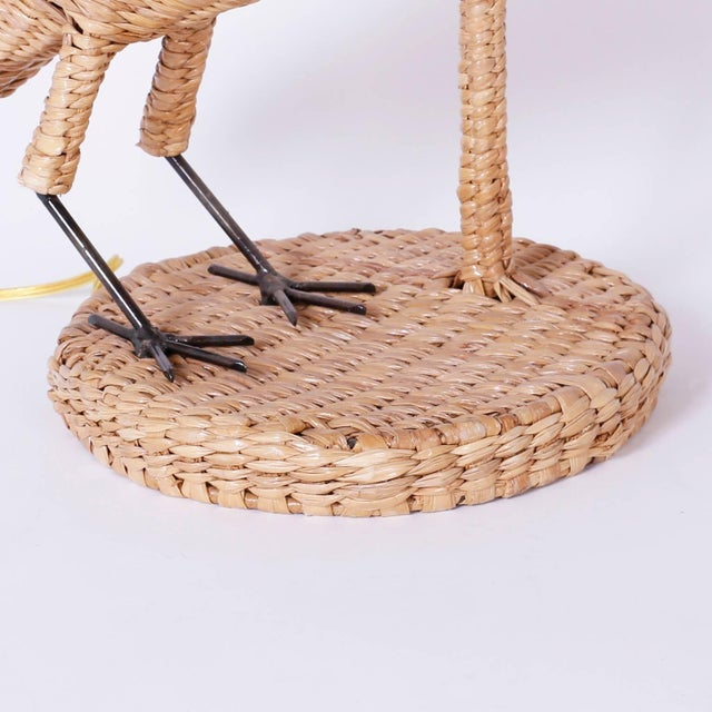 Wicker Mario Lopez Torres Wicker Egret Table Lamps - a Pair For Sale - Image 7 of 10