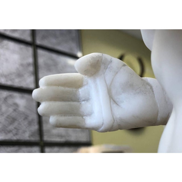 Stone 19th Century Antique Grand Tour Canova's Damoxenos the Boxer Marble Reduction Sculpture For Sale - Image 7 of 9