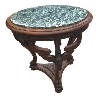 Late 20th Century French Renaissance Revival Carved Eagle Marble Top Table For Sale