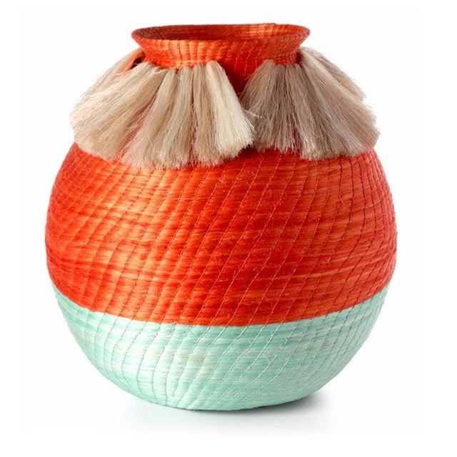 Boho Chic Fanned Out Large Bulbous Vase Tangerine/mint & Neutral Fans For Sale - Image 3 of 3
