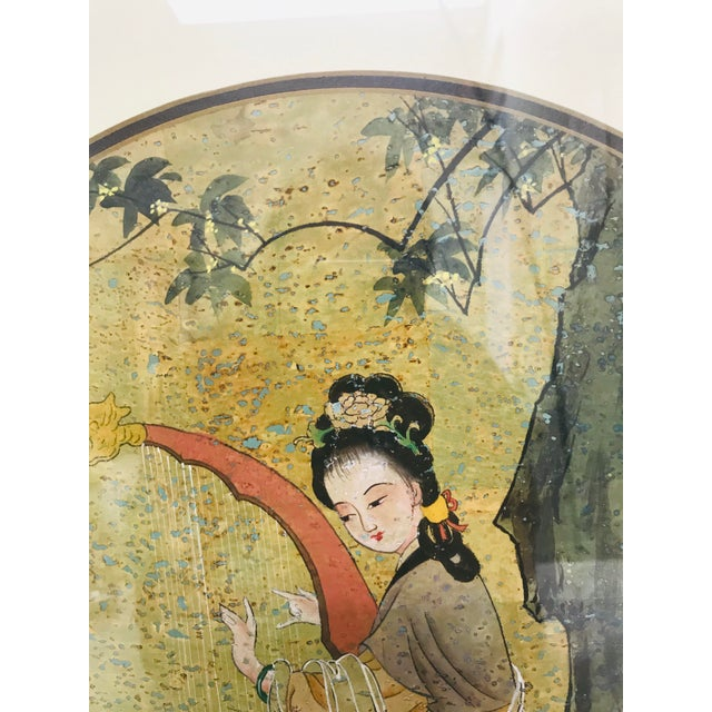 1960s 1960s Cork Paper Asian Painting Octagon Frame Original Signed For Sale - Image 5 of 7