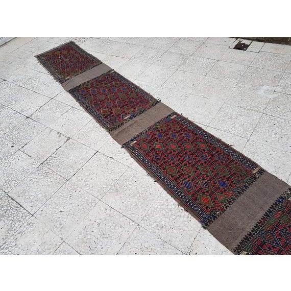 Textile 1970s Vintage Turkish Kilim Runner Rug - 1′9″ × 13′4″ For Sale - Image 7 of 11