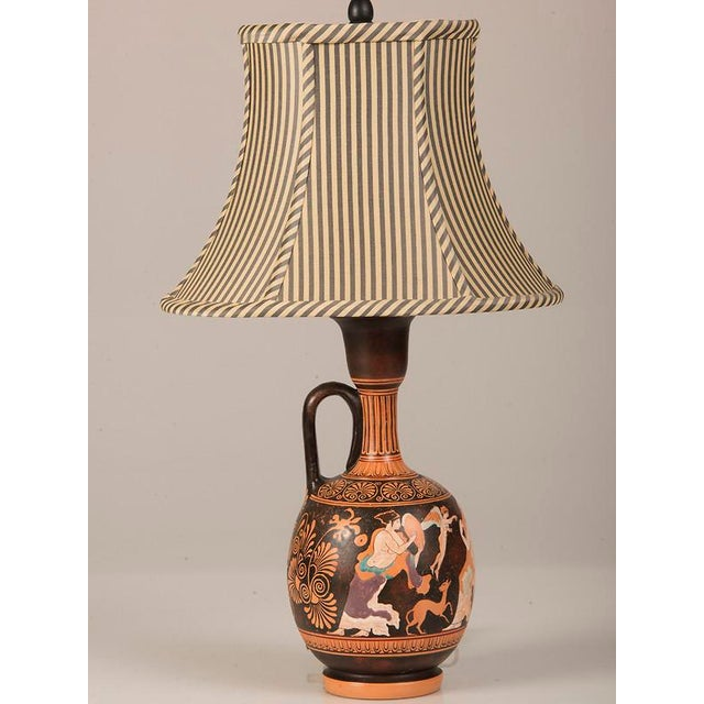 Neoclassical 19th Century Greek Hand Painted Earthenware Amphora Lamp For Sale - Image 3 of 9