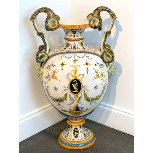 Stunning Ginori Majolica Allegorical Serpent Handled Vase For Sale In West Palm - Image 6 of 13