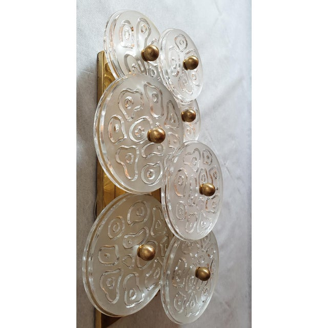 Metal Mid Century Modern Murano Glass & Brass Sconces by Vistosi Italy 1960s - 2 Pairs For Sale - Image 7 of 9
