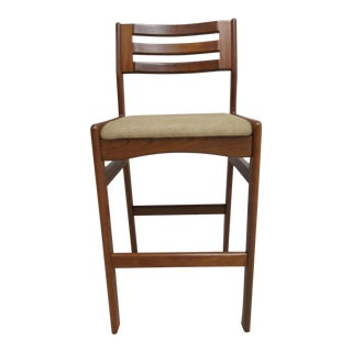 Danish Modern Teak Ladder Back Bar Stool