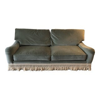 Green Velvet and Fringe Sofa For Sale