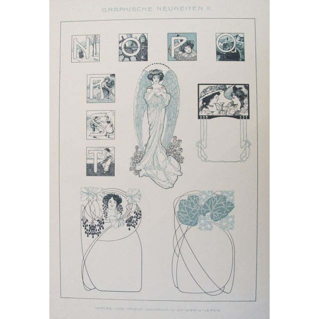 1900s German Decorator Print, Verdigris Ladies For Sale