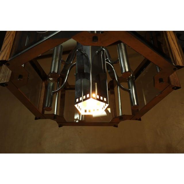 Metal Fredrick Ramond Lighting Oak, Chrome and Glass Pendant Chandelier For Sale - Image 7 of 13
