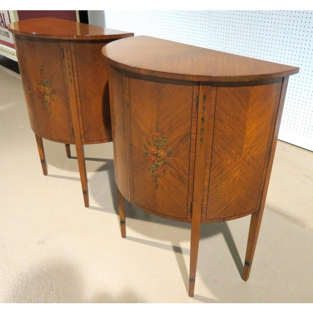 Adams Style Paint Decorated Demilune Tables - Pair - Image 2 of 4