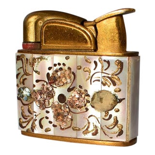 Vintage Abalone Brass and Pearl Encrusted Lighter For Sale