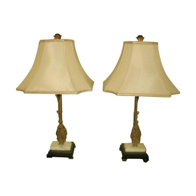 1900's French Bronze/Marble Girandole Lamps - Pair For Sale