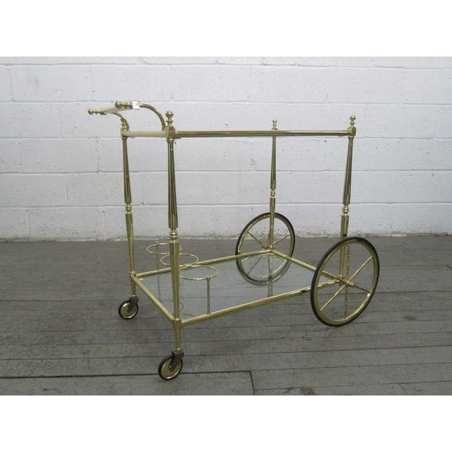 French French Two Tiered Brass Bar Cart For Sale - Image 3 of 3