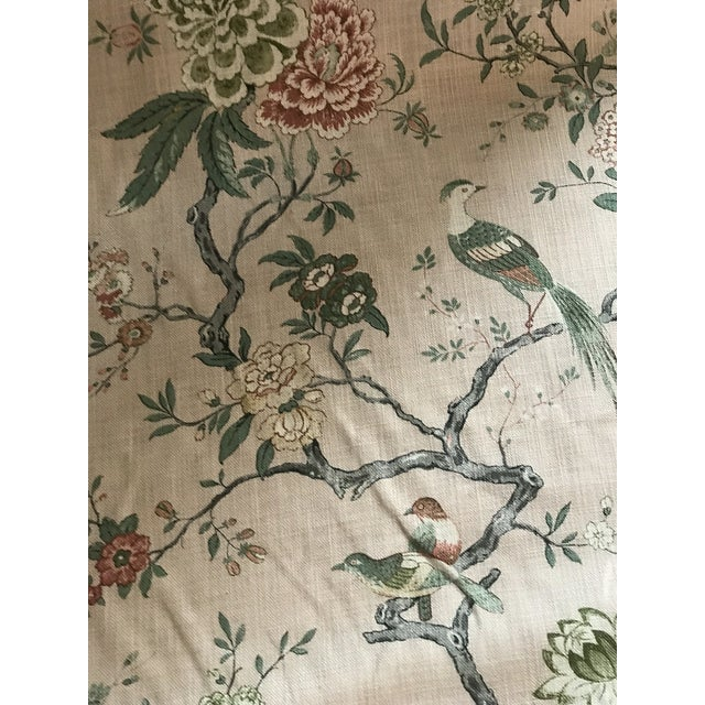 Textile Chinoiserie G P & J Baker Oriental Bird Signature Blush Linen Blend Fabric - 4 Yards For Sale - Image 7 of 8