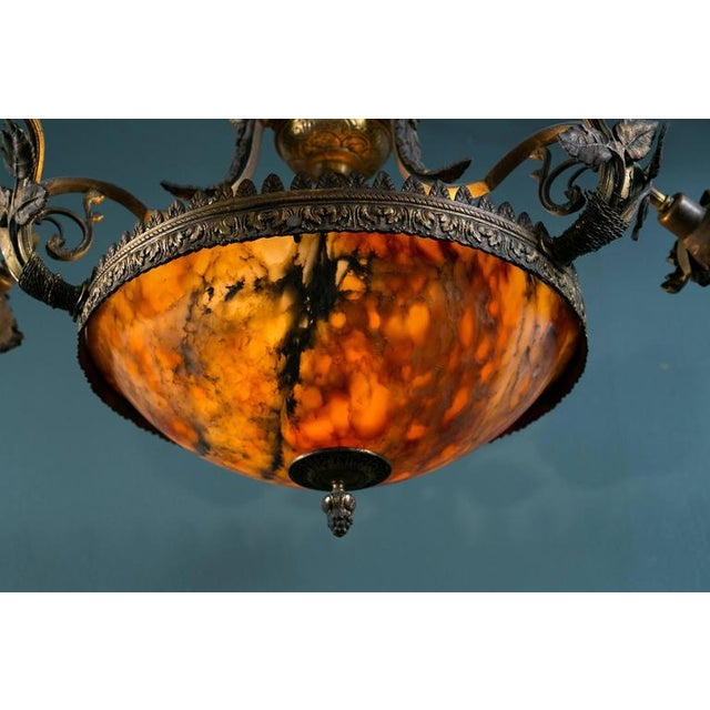 French Art Nouveau Floral Alabaster and Bronze Chandelier For Sale - Image 4 of 9