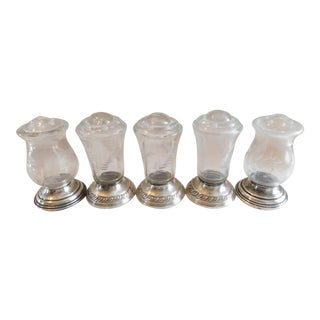 Sterling and Etched Glass Quaker Silver Co. Hurricane Salt & Pepper Shakers - Set of Five For Sale