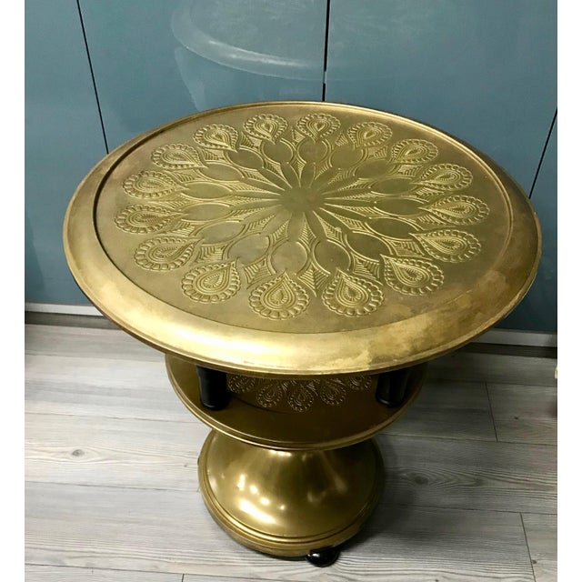 Boho Chic 20th Century Moroccan Repousse Design Tray Table For Sale - Image 3 of 9