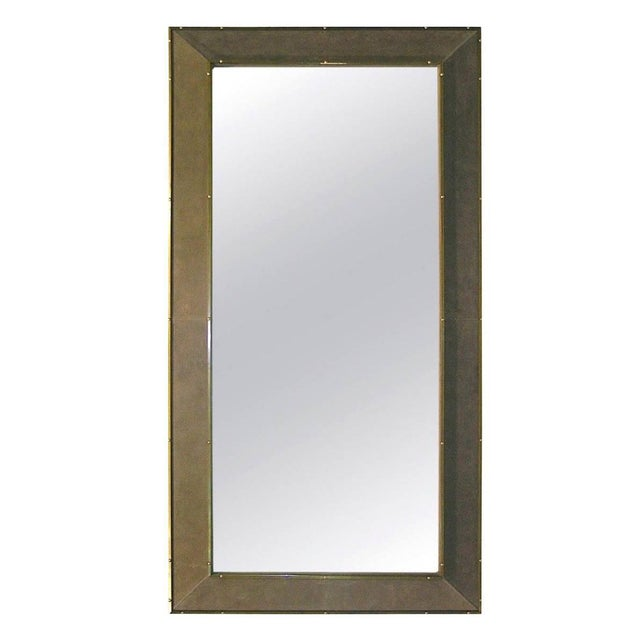 1970s Italian Suede Leather Floor Mirror With Modern Bronze Accents For Sale - Image 11 of 11