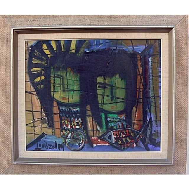 Abstract oil painting, by listed Artist Louis Zelig (1922-1993) for a Paris exhibition. Vibrant range of colors and framed...