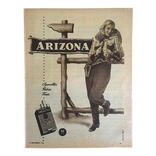"Vintage Mid Century 1951 Argentina ""Arizona Cigarette"" Advertising Magazine Print For Sale"