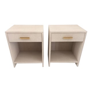 Contemporary Todd Hase Burlap Wrapped Nightstands - a Pair For Sale