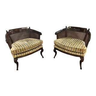 Mid-Century Modern Tub Chairs in Striped Upholstery With Cushion - a Pair For Sale
