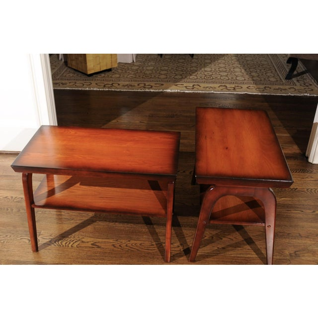 Rare Restored Pair of End Tables by John Wisner for Ficks Reed, Circa 1954 For Sale - Image 12 of 13