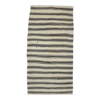 "Vintage Black White Striped Kilim Rug - 5'2"" x 10'2"""