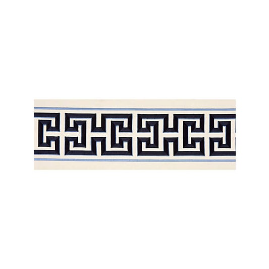 Traditional Scalamandre Imperial Embroidered Tape, Navy Fabric For Sale - Image 3 of 3