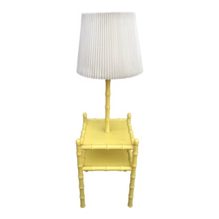 Vintage Mid-Century Modern Yellow Faux Bamboo Table Floor Lamp For Sale