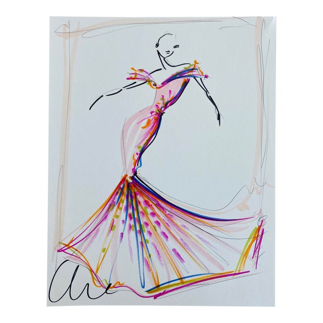 """""""Pink Vibrant Embellished Evening Gown"""" - Original Christian Siriano Sketch For Sale"""