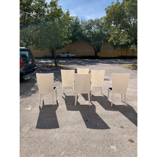 Wood 1970s Enrique Garcel Tessellated Bone Dining Chairs - Set of 6 For Sale - Image 7 of 13