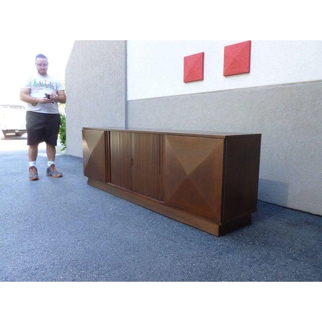 Mid-Century Danish Modern Walnut Credenza W Pyramid & Tambour Doors For Sale In Miami - Image 6 of 7