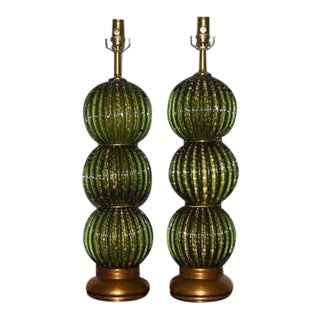 Vintage Murano Glass Lamps Green Gold For Sale