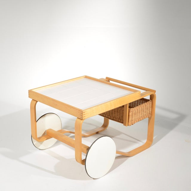 This is a rare tea trolley model 900 designed by Alvar Aalto for Artek, Finland, 1940s. From the estate of the great...