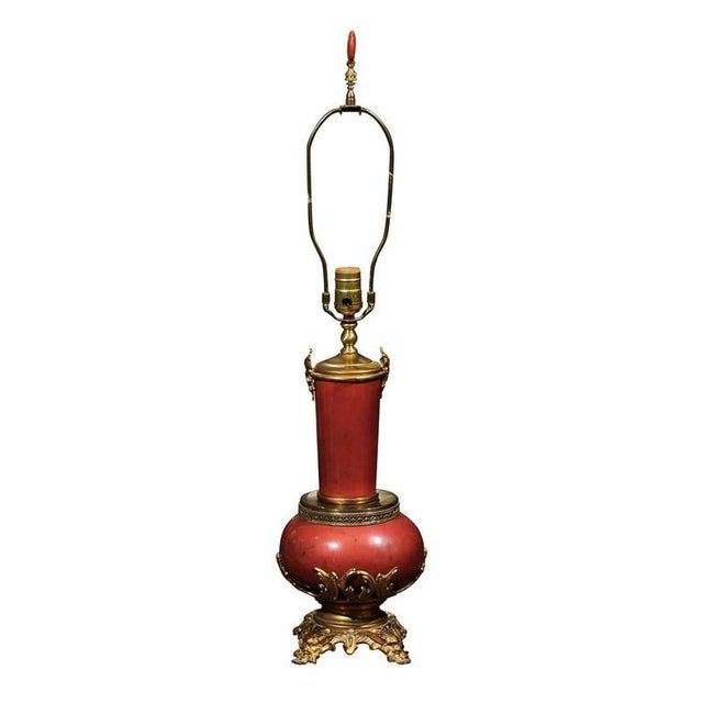 Coral Faux Marble Vase Shaped Lamp Mounted in Bronze and Brass For Sale - Image 10 of 10