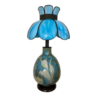 Italian Hand Painted Swans Ceramic Table Lamp With Slag Glass Shade For Sale